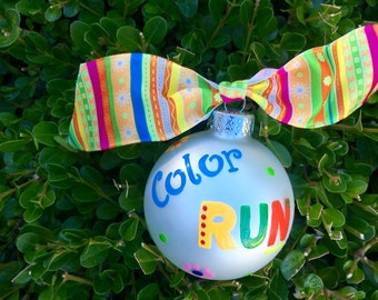 Color RUN Ornament - Personalized Running Ornament- Hand Painted Christmas Bauble, Glass Ball, Runner Gift