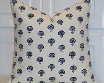 DOUBLE SIDED -  Decorative Pillow Cover - Indigo Floral Print - Throw Pillow - Accent Pillow - Dark Blue - Robert Allen Hand Flora