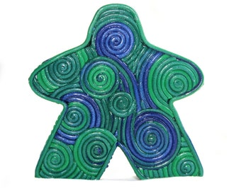 "Blue Green Swirly Meeple Decor , 3"" swirly meeple, game bits decoration, clay filigree, game piece statue, Carcassonne game tokens"