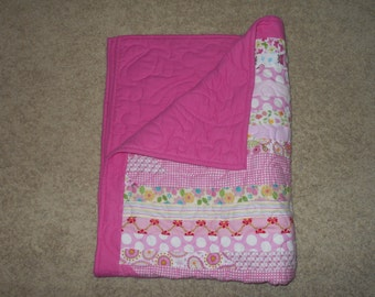 Proceeds Support Charity Work - Flannel Jelly Roll Baby Quilt - It's a Girl!