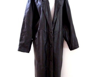 Vintage 80s Black Leather Batwing Coat - Full Length Black Leather Coat - 1980s Sleek Black Leather Coat - Size Small to Medium
