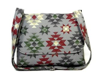 Southwest Tribal Print Purse, Women's Messenger Bag, Canvas Crossbody Bag, Gray Shoulder Bag, Pocketbook, Cotton Purse, Fabric Handbag