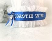 US Coast Guard Garter garter - Military Wedding Garter - Coastie Wife Garter - Embroidered Personalized Garter.