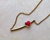 vintage heart necklace - SHOOTING HEART gold tone pendant