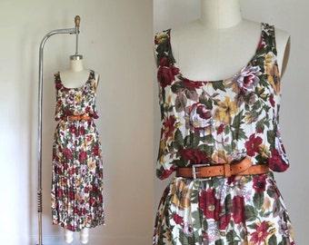 vintage 1990s floral dress - ZOE rose garden crinkle tank maxi dress / S