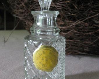 Vintage English Perfume Bottle / Glass Bottle / Pressed Glass Bottle / Boudoir Bottle