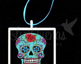 2x2 Ceramic Tile Ornament - Dia de Los Muertos-Day of the Dead Sugar Skull (SSO5) Ready to Ship