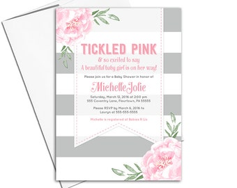 Baby shower invitations girl pink and gray | floral baby shower invites | tickled pink modern stripes | printable or printed - WLP00799