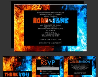 Fire and Ice B'nai Mitzvah Invitation - B'Not Mitzvah Invitations - ADD Rsvp Card, Thank You Notes, Celebration Card, Envelope Addressing