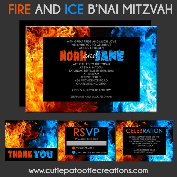 Fire and Ice Bnai Mitzvah Invitation BNot Mitzvah Invitations