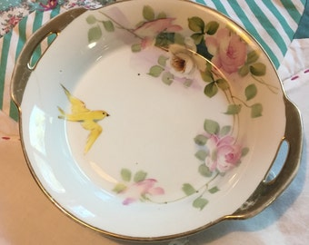 Vintage Decorative Nippon Bowl Pink Roses and Yellow Bird Made in Japan #3791