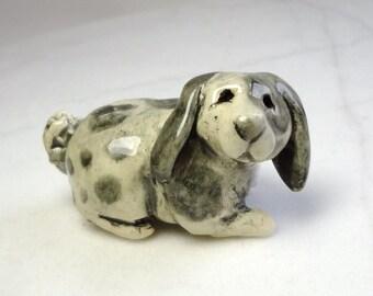 Lop Eared Rabbit Miniature - Terrarium Figurine - Bunny Rabbit - Gray and White Rabbit - Easter Decoration - Ceramic Figurine - Clay Animal