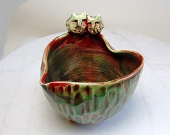 Love Bird Jewelry Holder - Trinket Bowl - Tealight  Holder - Snowy Owl - Wheel Thrown Pottery - Carved Pottery - Red and Green - Love Birds