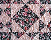 """Quilted Square and Star Table Runner, Topper, Mat, Trivet, Candle Mat - Pink and Black - 13-1/2"""" x 13-1/2"""""""