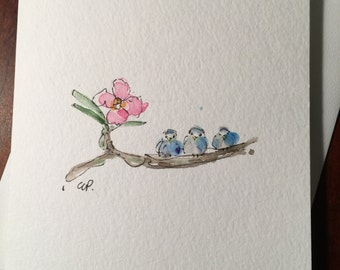 Three Little Birds Watercolor Card / Hand painted Watercolor Card