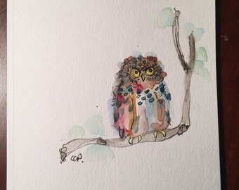 Owl Watercolor Card / Hand Painted Watercolor Card