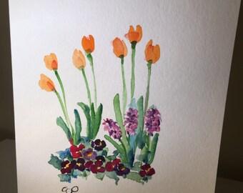 Yellow Tulip Garden Watercolor Card / Original Hand Painted Watercolor Card