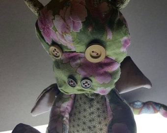 Japanese fabric hand stitched dragon doll