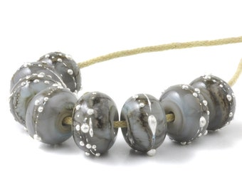 Lampwork Beads | Grey and Silver Glass Beads | Handmade Lampwork Glass Bead Set | Artisan Glass | UK SRA