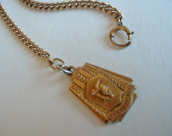 Vintage 1943 Watch Fob and Chain High Series 10k Gold Filled Eclipse-Pioneer Medal Flob