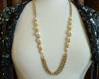 Vintage Multi Gold Chain & Faux Pearl Necklace Mid Centruy 1960's