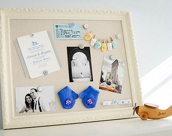 Unique Baby Gift Linen PINBOARD Gender Neutral Baby Gift Babyshower Decoration Magnetic Board Birth Announcement Wall Art Newborn Photo Prop