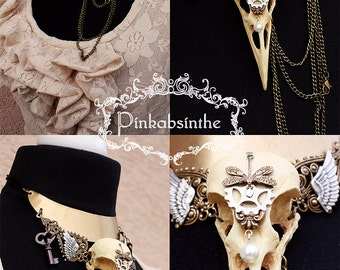 Crow skull Black witch choker