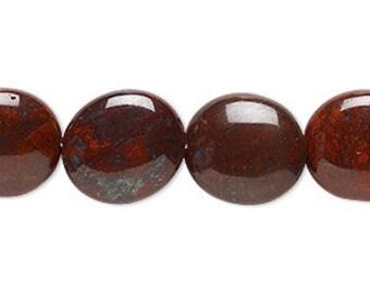 28pcs 14x12mm Flat Oval Brecciated Jasper Beads 16 Inches Natural Gemstone