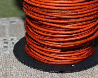 2mm Leather Cord - Natural Orange - 6 Feet Premium Quality Round Cording