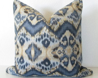 Rhythm Wave Indigo blue ikat decorative pillow cover