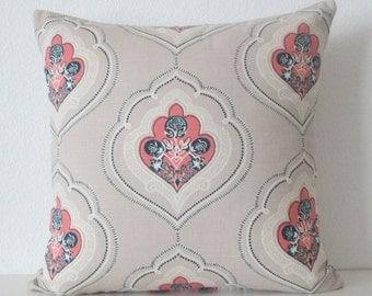 Tilton Fenwick Jumana Coral medallion pink and blue decorative pillow cover