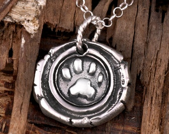 Personalized 3D Cat Paw Impression Wax Seal Monogram-- Cat Lovers--Memorial Pet Necklace--OOAK