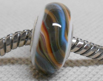 White with Multi Colored Stripe Handmade Lampwork Bead Silver Cored Bead Fits Most European Style Charm Bracelets