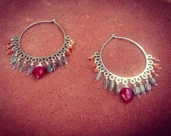 India style bohemian ruby labradorite sunstone dangle hoop earrings