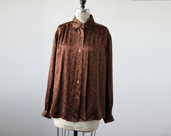 Vintage SILK Cocoa Brown and Black Geometric Print Button Down Blouse Oxford L