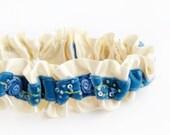Garter, Wedding Garter, Bridal Garter, Blue Garter, Blue Wedding Garter, Blue Bridal Garter, Something Blue - Velvet Garter by Garter Girl