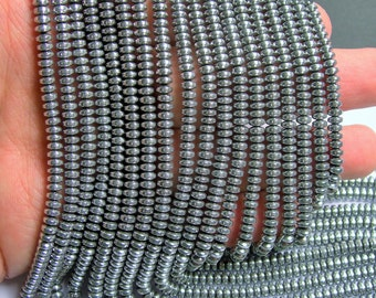 Hematite Silver - 4x2 rondelle beads - 1 full strand - 188 beads - AA quality - 4mmx2mm - PHG215