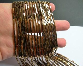 Hematite bronze - 4mm rectangle beads -  full strand - 100 beads - AA quality - 4x2 - PHG236