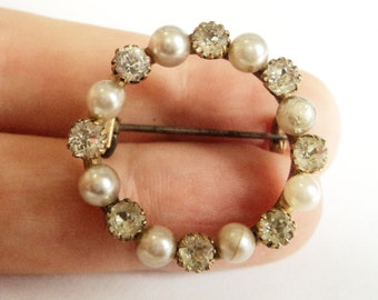 Antique Paste and Pearl Brooch