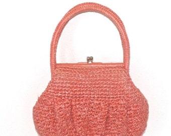 50% OFF SALE Vintage 1960s Raffia Straw Purse . Walborg Handmade Light Coral Woven Basket Beach Resort Summer Handbag . Made in Japan . Fabu