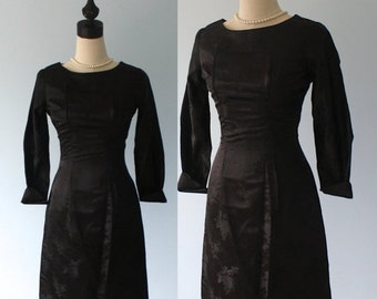 SALE Vintage 1950s Black Brocade Dress . Classy 50s Satin Curvy Body Fitting Wiggle Evening Party Dress . Size Extra Small