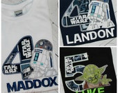 White Robot R2D2, Yoda, Darth Vader, Storm Trooper Star Wars Boys or Girls Birthday Shirt Inspired Top Pick NAME, Size, Fabrics, Number