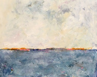 Abstract Seascape Original Painting - Drakes Bay 18 x 18