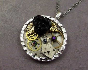 Steampunk Pocket Watch Plate Necklace, Black Rose, Purple Crystals