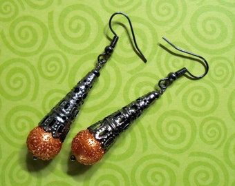 Orange and Black Filigree Halloween Earrings (3086)