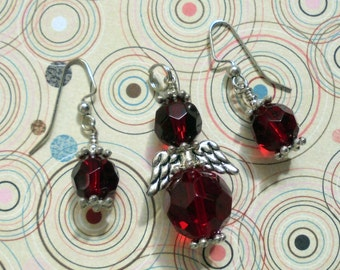 Ruby Red Angel Pendant and Earrings (0637)
