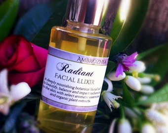 Organic Rejuvenating Facial Oil RADIANT FACIAL ELIXIR with schizandra fruit, shea, pomegranate & rosehip extracts, vegan
