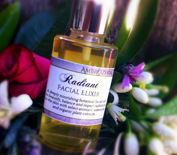 Organic Rejuvenating Facial Oil RADIANT FACIAL ELIXIR with schizandra fruit, shea, pomegranate & rosehip extracts, vegan