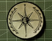 Mariner's Compass Iron on Patch on Cowhide Leather