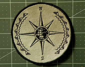 """Mariner's Compass Iron on Patch on Cowhide Leather 4 """""""